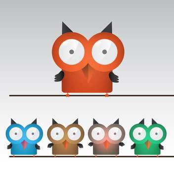 vector illustration of colorful owls - vector gratuit #132909