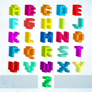 multicolored blocks font alphabet letters - vector gratuit #132939