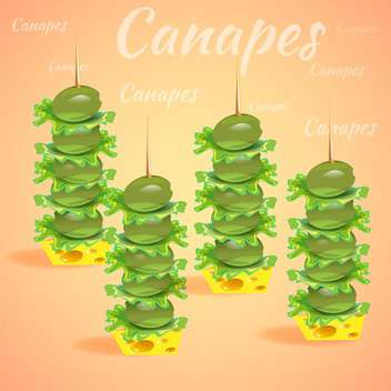 tasty canapes with vector olives - vector gratuit #133059