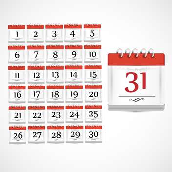 set of red calendar days icons - vector #133139 gratis