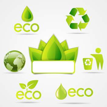 eco symbols icons set - vector gratuit #133169