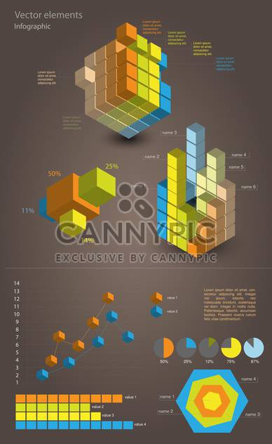 set elements of business infographic background - Free vector #133599