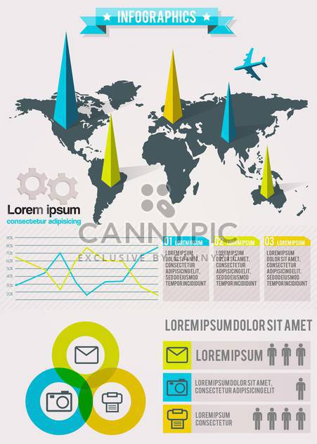 set elements of business infographics - Free vector #133609
