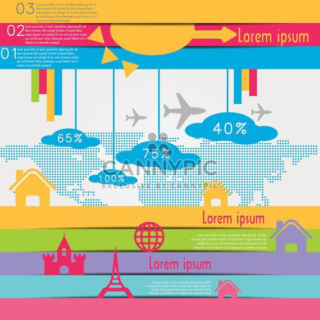 travel infographics with data icons and elements - Free vector #133669