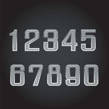 vector silver numbers with diamonds - vector gratuit #133699