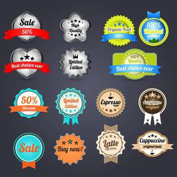 set of vintage badges and labels - vector gratuit #133749