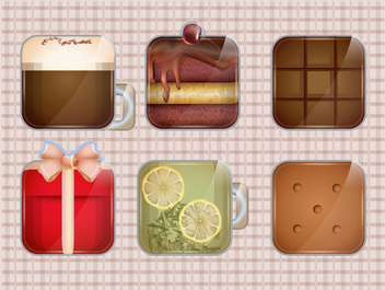 food and drinks icon set - vector gratuit #133869