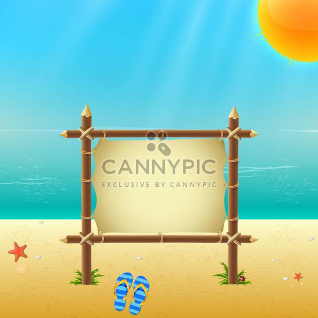 wooden placard on sandy beach - Free vector #134019