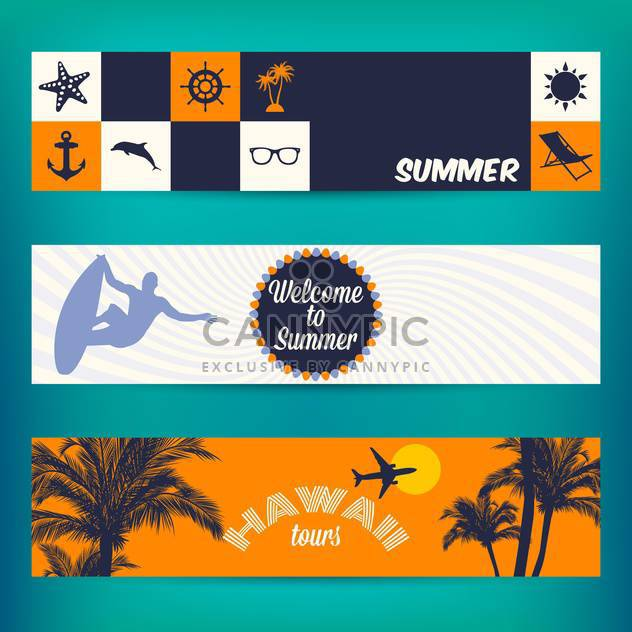 banner set of travel summer vacation - Free vector #134059
