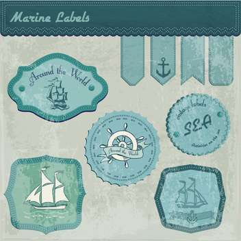 vintage marine labels background - vector #134069 gratis