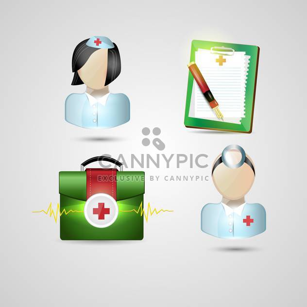 medicine ambulance icons set - Free vector #134179