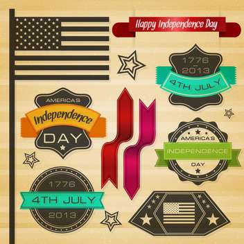 usa independence day labels - Free vector #134349