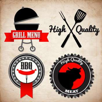 grunge grill menu signs - vector #134389 gratis