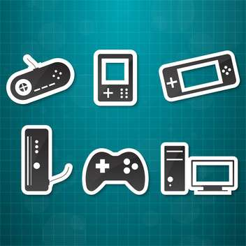 video game icons set background - vector gratuit #134439