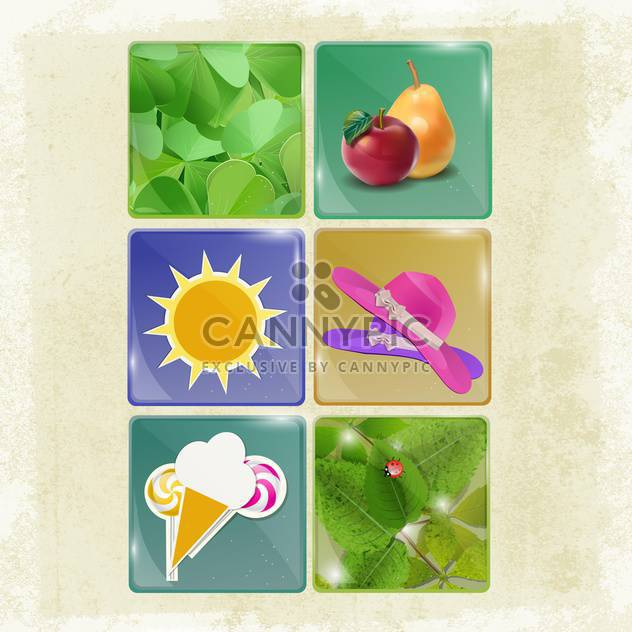 set of summer holiday buttons - Free vector #134679