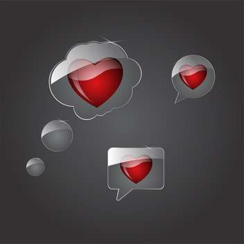 vector speech bubbles with hearts - vector gratuit #134839