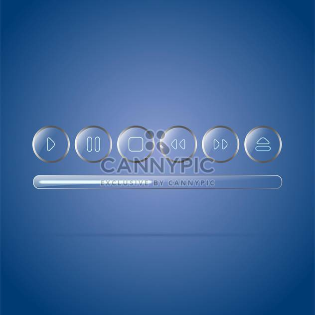 glossy glass player buttons set - Free vector #134939
