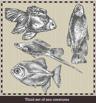 set of sea fish in retro style illustration - бесплатный vector #135059