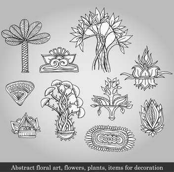 flowers and plants for decoration on grey background - vector gratuit #135089