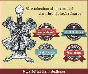awards labels medallions in retro style - Free vector #135099