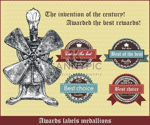 awards labels medallions in retro style - Kostenloses vector #135099