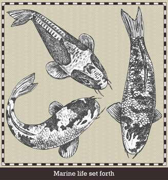 set of fish in retro sketch style - бесплатный vector #135109