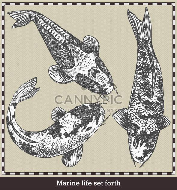 set of fish in retro sketch style - Free vector #135109