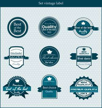 retro vector labels and badges on blue background - vector gratuit #135139