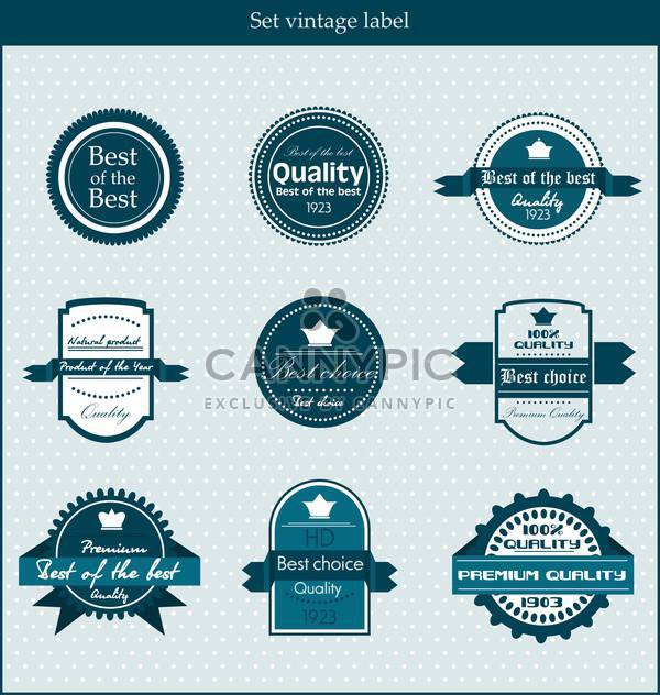 retro vector labels and badges on blue background - Free vector #135139