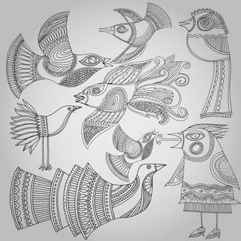 set of fantastic birds in folk style. - vector #135149 gratis