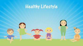 healthy lifestyle with children doing gymnastics - vector gratuit #135159