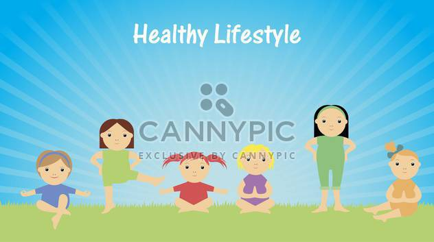 healthy lifestyle with children doing gymnastics - Free vector #135159