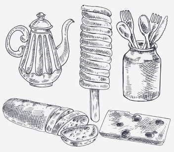 set of sketch elements for tea break - vector gratuit #135169