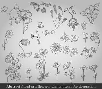 abstract flowers, plants and items for decoration - vector #135229 gratis