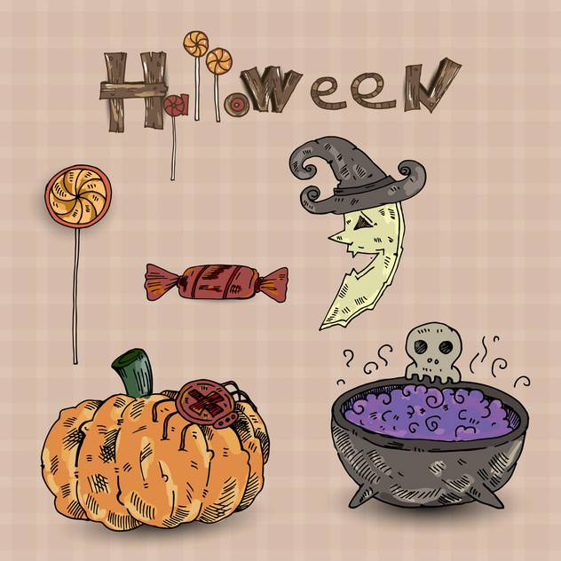 Colorful set of halloween decorative elements - vector #135279 gratis