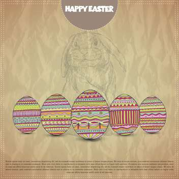 Happy Easter postcard with colorful eggs - vector gratuit #135319