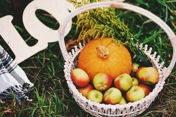 Apples and pumpkin in basket - image #136199 gratis