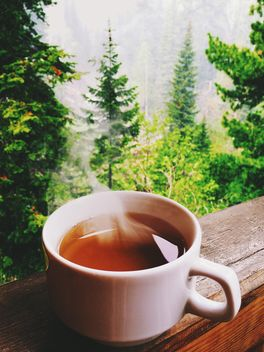 Cup of hot tea on the balcony - image #136249 gratis