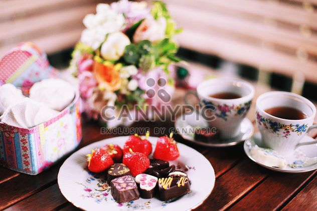 Candies, cups of tea and zephyr - Free image #136399
