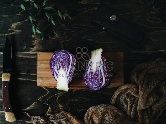 Purple cabbage and knife - Free image #136499