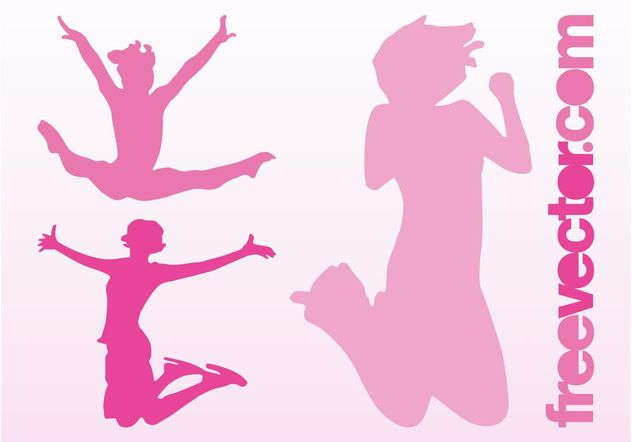 Happy Jumping Girls - Free vector #138919