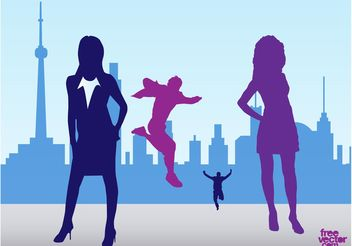 City People Silhouettes - vector gratuit #138969