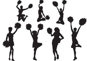 Free Vector Cheerleader Silhouette Set - Free vector #139039