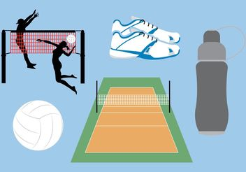 Volleyball Court Vector Icons - Free vector #139119
