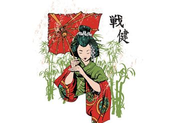 Japanese Geisha Vector T-Shirt Template - vector #139279 gratis