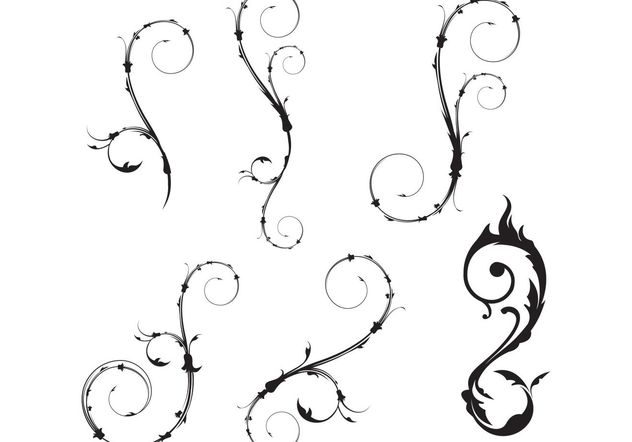Flower Vector and Vector Swirls - Free vector #139409