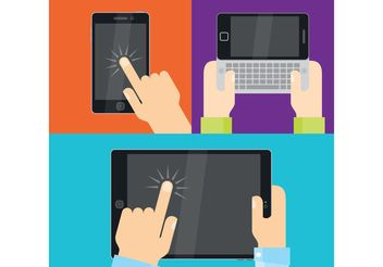 Hands Vectors With Devices - vector gratuit #140699