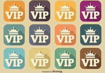 VIP Long Shadow Icons - vector gratuit #140809