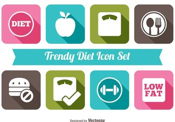 Trendy Diet Icon Set - Free vector #141089