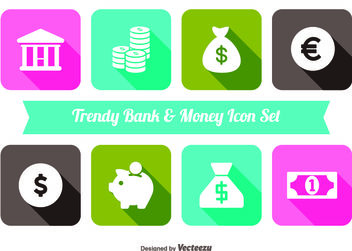 Trendy Money and Bank Icon Set - Free vector #141099